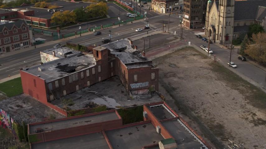 5.7K stock footage aerial video orbit an abandoned building at sunset, Detroit, Michigan Aerial Stock Footage | DX0002_192_015