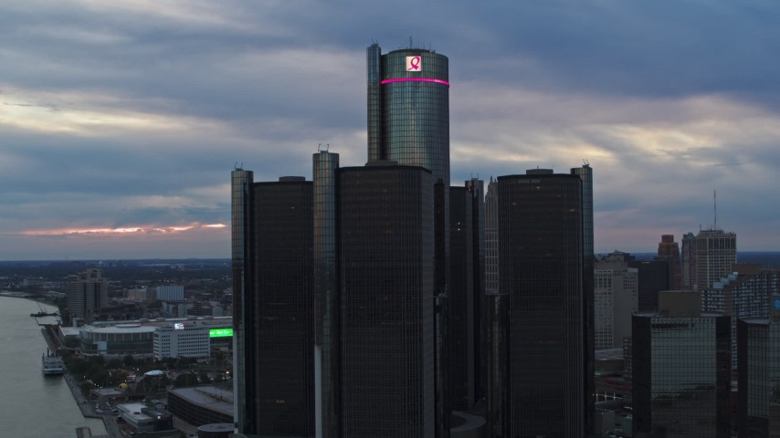 5.7K stock footage aerial video orbit the GM Renaissance Center skyscraper at sunset, Downtown Detroit, Michigan Aerial Stock Footage | DX0002_192_042