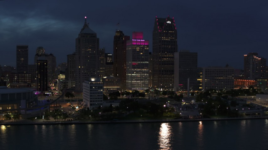 5.7K stock footage aerial video a group of tall skyscrapers at twilight, Downtown Detroit, Michigan Aerial Stock Footage | DX0002_193_007