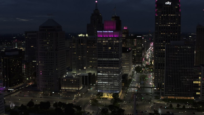 5.7K stock footage aerial video orbit One Woodward Avenue skyscraper at twilight, Downtown Detroit, Michigan Aerial Stock Footage | DX0002_193_016