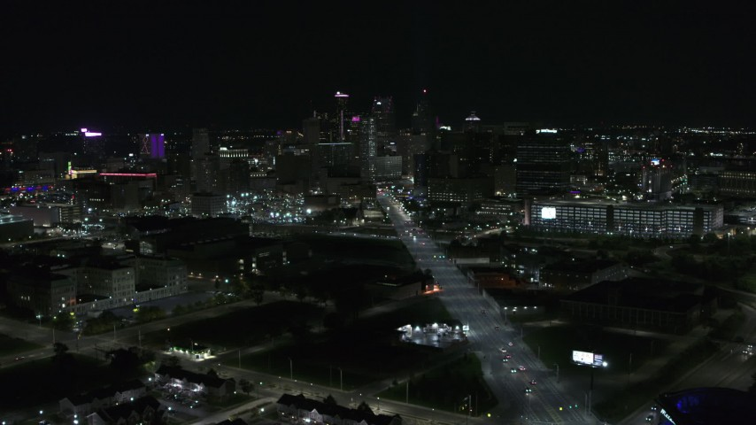 5.7K stock footage aerial video a wide view of the city's skyline at night, Downtown Detroit, Michigan Aerial Stock Footage | DX0002_193_022