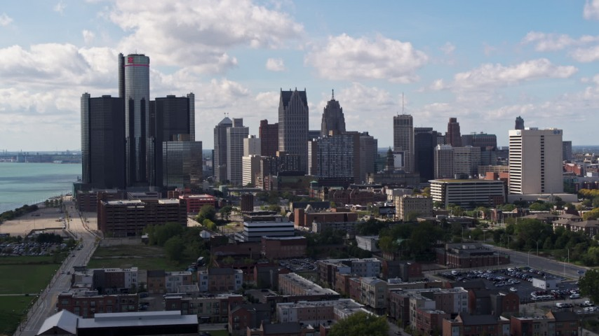 5.7K stock footage aerial video of passing GM Renaissance Center and the city's skyline, Downtown Detroit, Michigan Aerial Stock Footage | DX0002_194_008