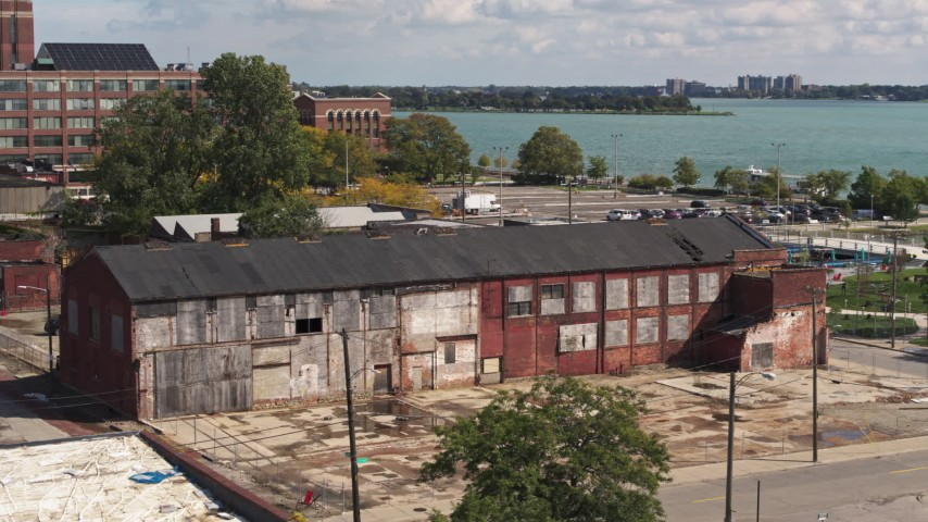 5.7K stock footage aerial video orbit the abandoned factory building in Detroit, Michigan Aerial Stock Footage | DX0002_194_018