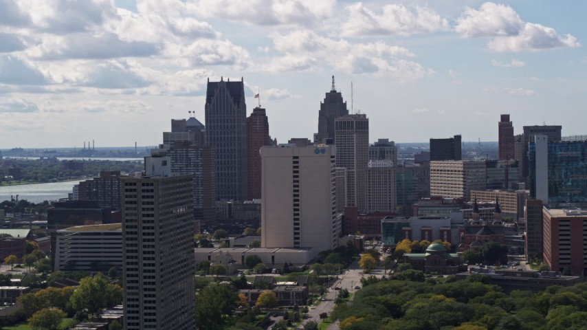 5.7K stock footage aerial video of flying by part of the city's skyline in Downtown Detroit, Michigan Aerial Stock Footage | DX0002_194_026