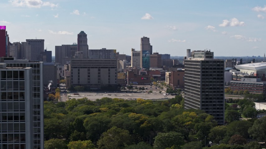 5.7K stock footage aerial video flyby courthouse, reveal apartment buildings, Downtown Detroit, Michigan Aerial Stock Footage | DX0002_194_034