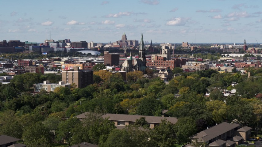 5.7K stock footage aerial video of orbiting St. Joseph Oratory church, Detroit, Michigan Aerial Stock Footage | DX0002_194_036
