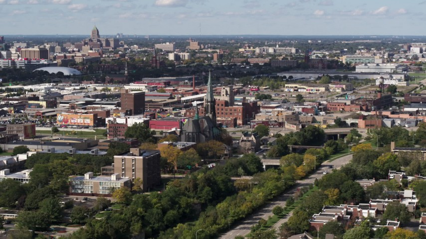 5.7K stock footage aerial video ascend and orbit St. Joseph Oratory church, Detroit, Michigan Aerial Stock Footage | DX0002_194_037