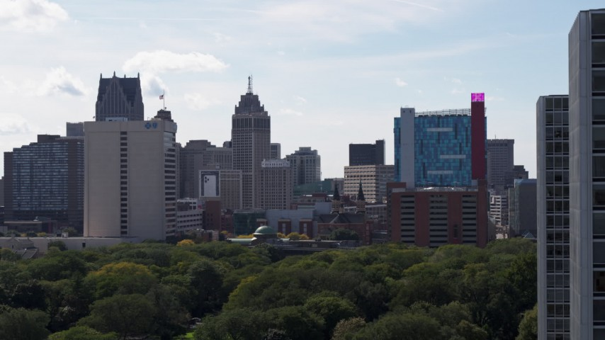 5.7K stock footage aerial video of office tower, churches and the hotel and casino, Downtown Detroit, Michigan Aerial Stock Footage | DX0002_194_044