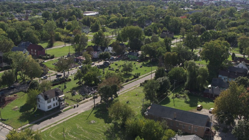 5.7K stock footage aerial video of the Heidelberg Project art display in Detroit, Michigan Aerial Stock Footage | DX0002_195_002