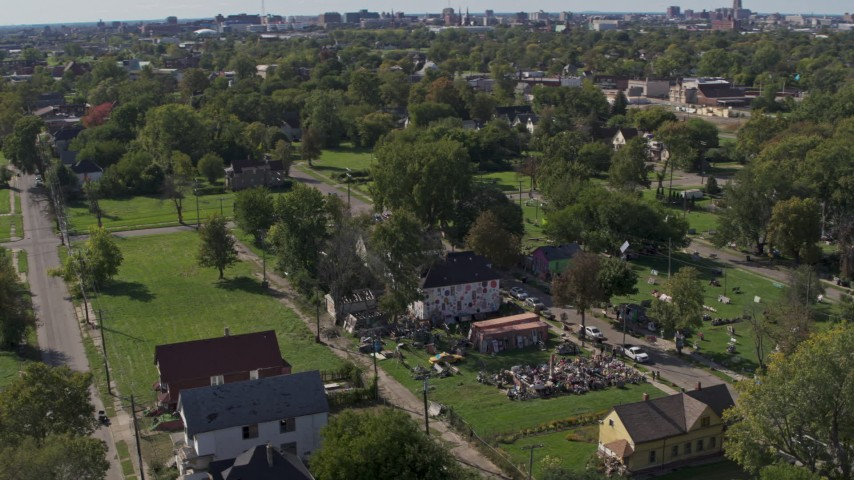 5.7K stock footage aerial video of the Heidelberg Project outdoor art display in Detroit, Michigan Aerial Stock Footage | DX0002_195_008
