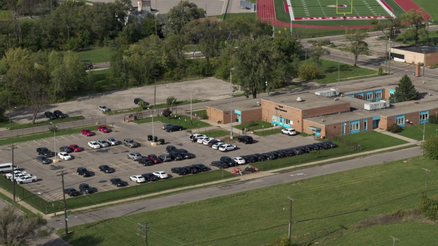 5.7K stock footage aerial video of an orbit of a police station in Detroit, Michigan Aerial Stock Footage | DX0002_195_035
