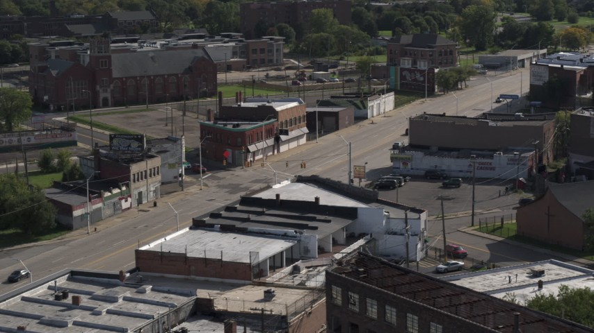 5.7K stock footage aerial video orbit a street intersection in Detroit, Michigan Aerial Stock Footage | DX0002_195_040