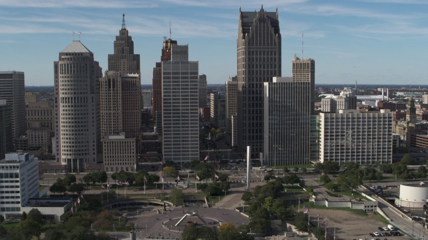5.7K stock footage aerial video orbit towering skyscrapers across from Hart Plaza, Downtown Detroit, Michigan Aerial Stock Footage | DX0002_196_003