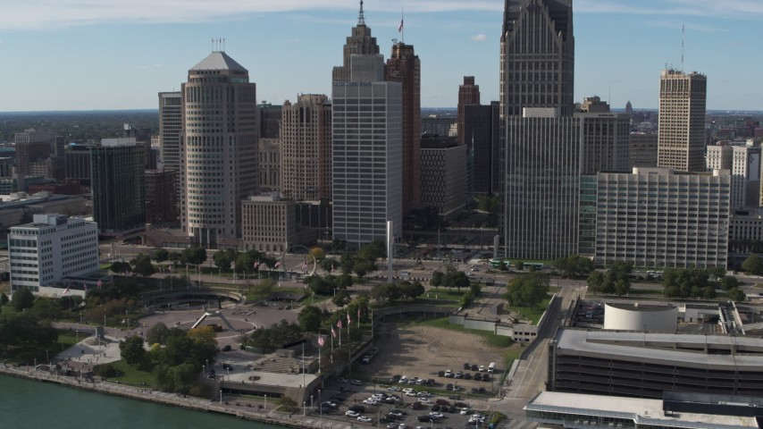 5.7K stock footage aerial video of slowly orbiting tall skyscrapers and Hart Plaza, Downtown Detroit, Michigan Aerial Stock Footage | DX0002_196_010