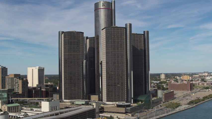 5.7K stock footage aerial video approach and orbit GM Renaissance Center in Downtown Detroit, Michigan Aerial Stock Footage | DX0002_196_021