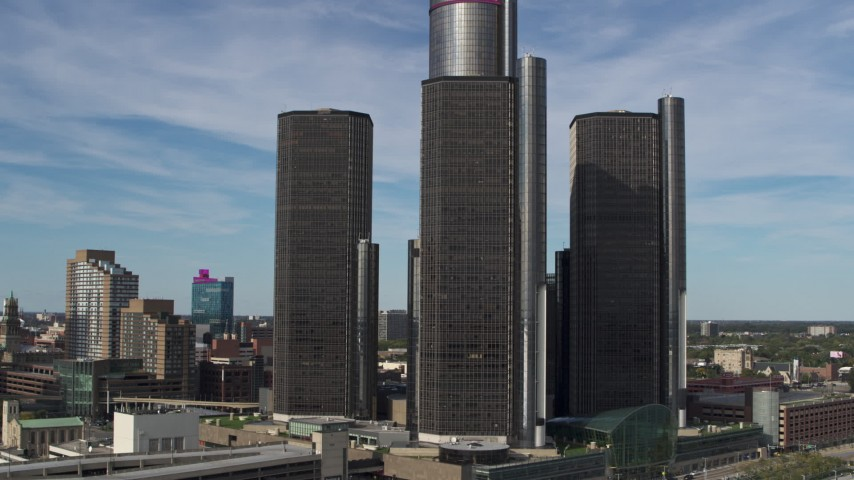 5.7K stock footage aerial video approach and circle GM Renaissance Center in Downtown Detroit, Michigan Aerial Stock Footage | DX0002_196_022