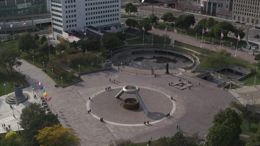5.7K stock footage aerial video orbit and approach fountain in Hart Plaza in Downtown Detroit, Michigan Aerial Stock Footage   DX0002_196_023