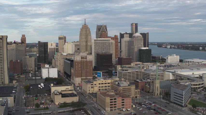 5.7K stock footage aerial video orbiting a group of skyscrapers in Downtown Detroit, Michigan Aerial Stock Footage | DX0002_196_025