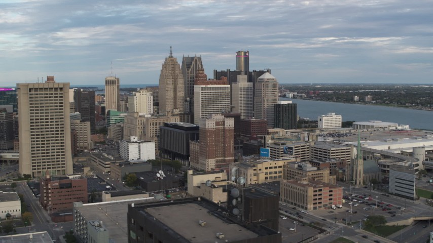 5.7K stock footage aerial video wide orbit of a group of skyscrapers in Downtown Detroit, Michigan Aerial Stock Footage | DX0002_196_026