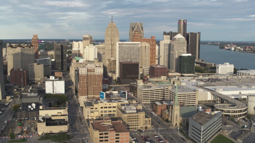 5.7K stock footage aerial video of approaching a group of skyscrapers in Downtown Detroit, Michigan Aerial Stock Footage | DX0002_196_034