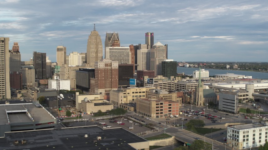 5.7K stock footage aerial video orbit a group of skyscrapers, reveal office tower in Downtown Detroit, Michigan Aerial Stock Footage | DX0002_196_036