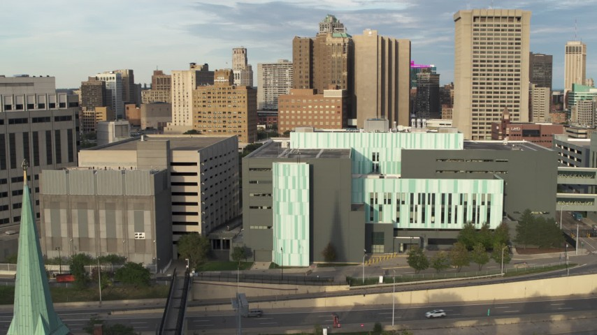 5.7K stock footage aerial video of circling the Detroit Public Safety Headquarters in Downtown Detroit, Michigan Aerial Stock Footage | DX0002_196_043