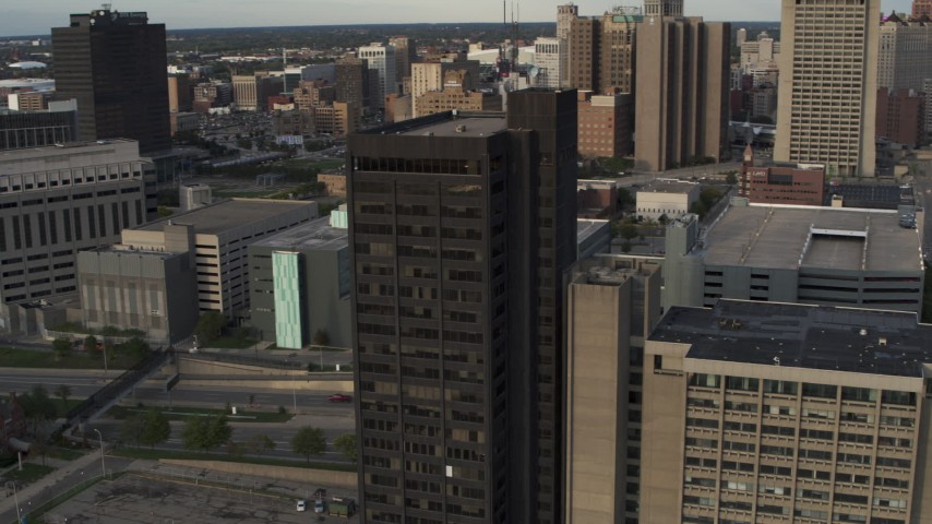 5.7K stock footage aerial video of orbiting around the Executive Plaza Building in Downtown Detroit, Michigan Aerial Stock Footage | DX0002_196_050