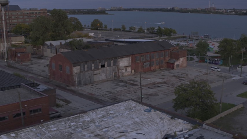 5.7K stock footage aerial video of an orbit of an abandoned factory building at sunset, Detroit, Michigan Aerial Stock Footage | DX0002_197_009
