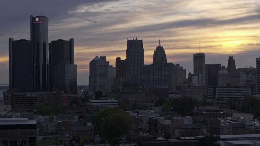 5.7K stock footage aerial video of the city's skyline at sunset, Downtown Detroit, Michigan Aerial Stock Footage | DX0002_197_025