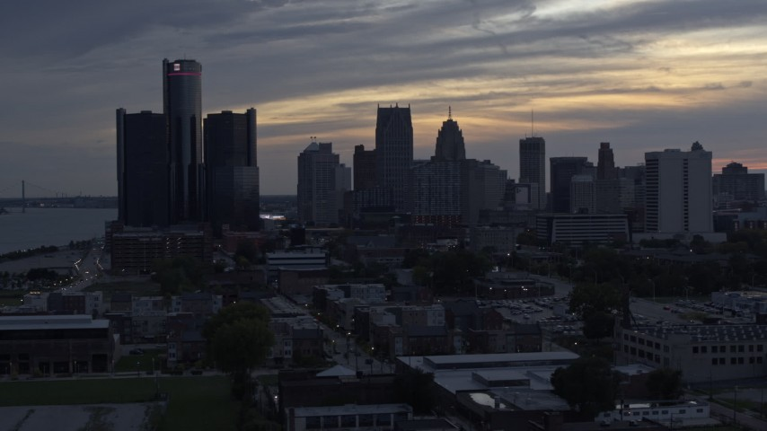 5.7K stock footage aerial video flyby GM Renaissance Center and the skyline at sunset, Downtown Detroit, Michigan Aerial Stock Footage | DX0002_197_037