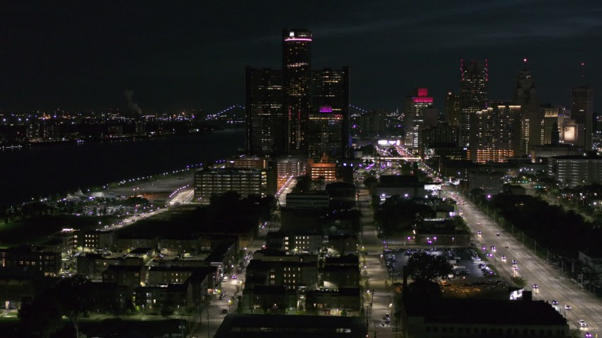 5.7K stock footage aerial video of orbiting GM Renaissance Center at night, Downtown Detroit, Michigan Aerial Stock Footage | DX0002_198_040