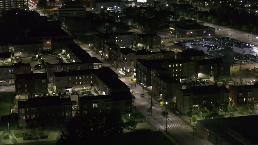 5.7K stock footage aerial video of orbiting Franklin Street and an apartment complex at night, Downtown Detroit, Michigan Aerial Stock Footage | DX0002_198_054
