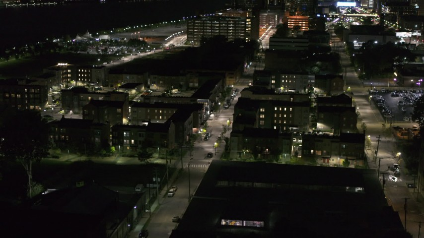 5.7K stock footage aerial video of Franklin Street and an apartment complex at night, Downtown Detroit, Michigan Aerial Stock Footage | DX0002_198_055