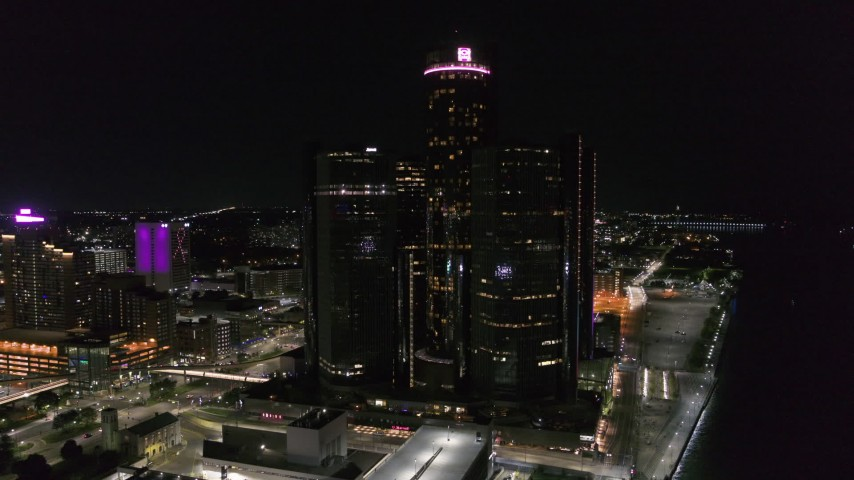 5.7K stock footage aerial video orbit and approach GM Renaissance Center at night, Downtown Detroit, Michigan Aerial Stock Footage | DX0002_199_029