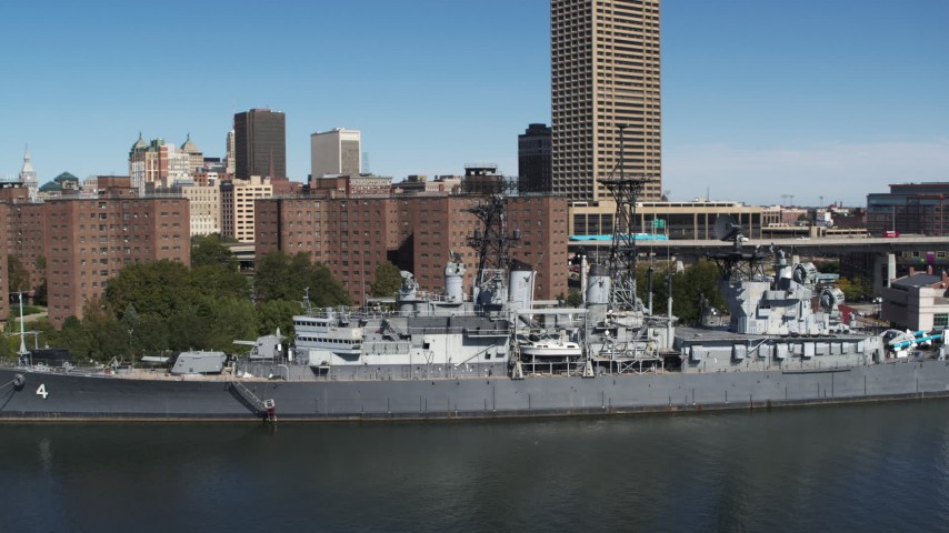 5.7K stock footage aerial video of orbiting the USS Little Rock in Downtown Buffalo, New York Aerial Stock Footage | DX0002_200_017