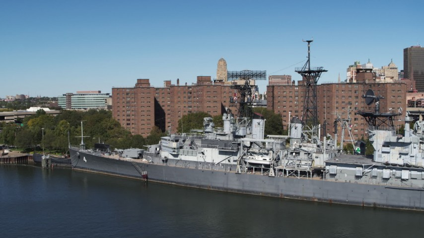 5.7K stock footage aerial video orbit the USS Little Rock in Downtown Buffalo, New York Aerial Stock Footage | DX0002_200_018