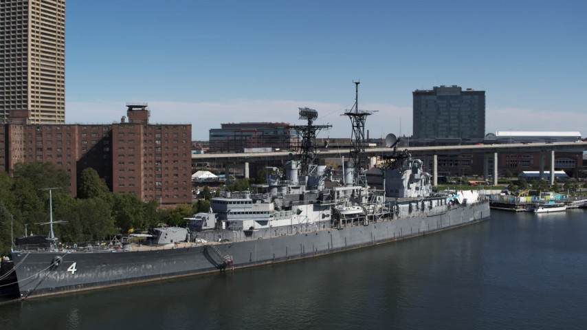 5.7K stock footage aerial video orbit and approach the USS Little Rock in Downtown Buffalo, New York Aerial Stock Footage | DX0002_200_019