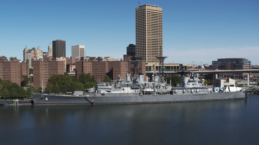 5.7K stock footage aerial video descend while focused on the USS Little Rock in Downtown Buffalo, New York Aerial Stock Footage | DX0002_200_022