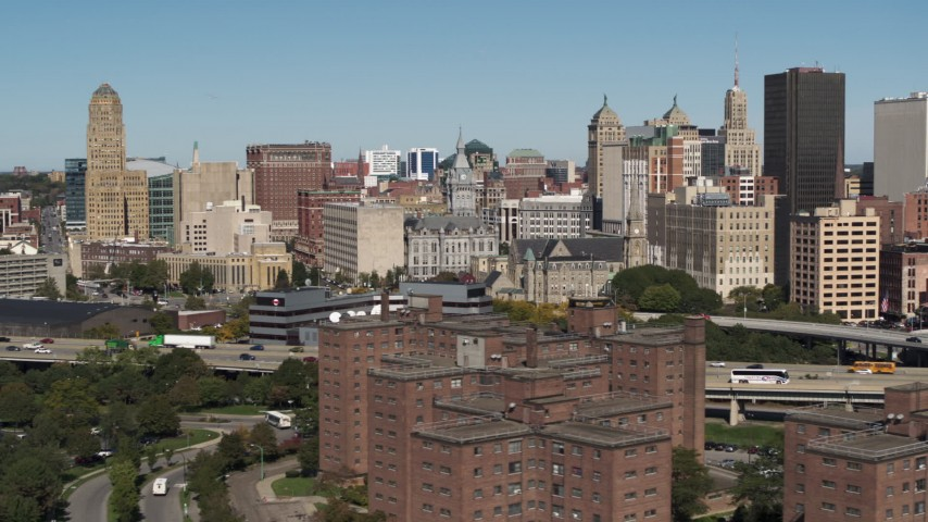 5.7K stock footage aerial video of flying by County and City Hall in the city's skyline, Downtown Buffalo, New York Aerial Stock Footage | DX0002_201_002