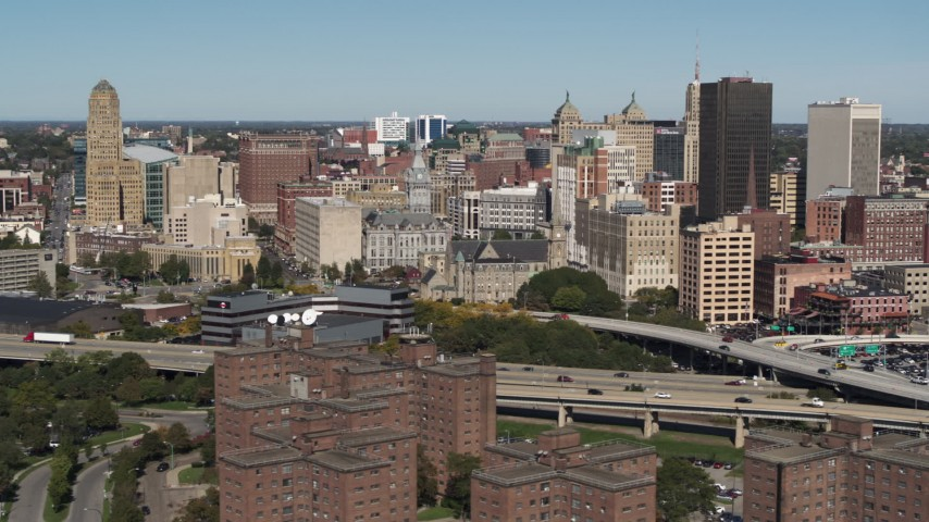 5.7K stock footage aerial video focus on County and City Hall in the city's skyline, Downtown Buffalo, New York Aerial Stock Footage | DX0002_201_004