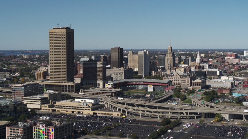 5.7K stock footage aerial video ascend toward Seneca One Tower and Sahlen Field, Downtown Buffalo, New York Aerial Stock Footage | DX0002_201_008