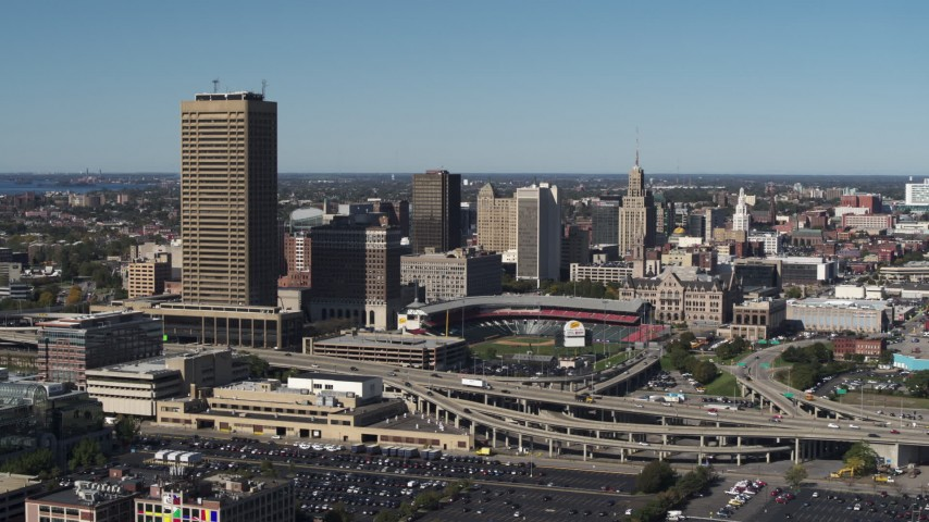5.7K stock footage aerial video fly away from Seneca One Tower and Sahlen Field, Downtown Buffalo, New York Aerial Stock Footage | DX0002_201_009