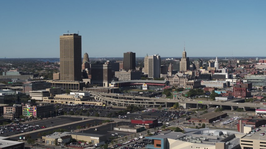 5.7K stock footage aerial video of the city's skyline behind Sahlen Field, Downtown Buffalo, New York Aerial Stock Footage | DX0002_201_010