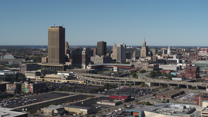 5.7K stock footage aerial video slowly flyby the city's skyline behind Sahlen Field, Downtown Buffalo, New York Aerial Stock Footage | DX0002_201_011