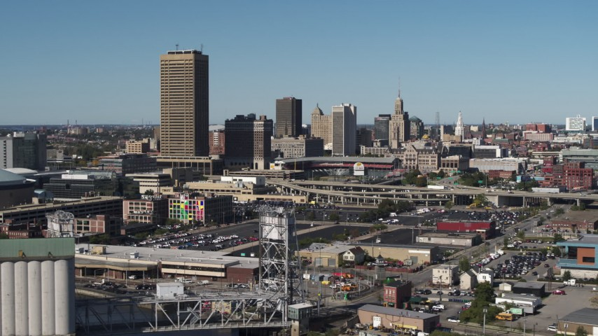 5.7K stock footage aerial video slowly pass the city's skyline behind Sahlen Field, Downtown Buffalo, New York Aerial Stock Footage | DX0002_201_012