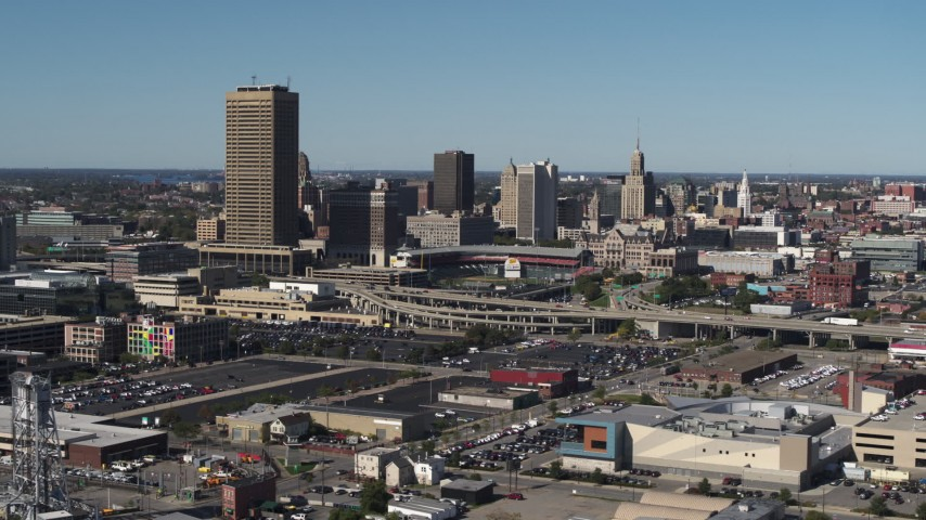 5.7K stock footage aerial video a view of the city's skyline by Sahlen Field, Downtown Buffalo, New York Aerial Stock Footage | DX0002_201_013