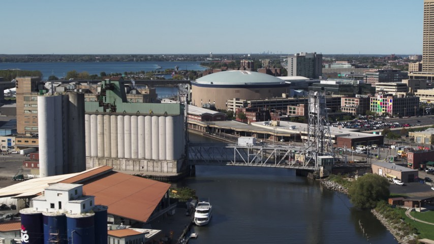 5.7K stock footage aerial video flyby KeyBank Center arena and grain elevator by the river, Downtown Buffalo, New York Aerial Stock Footage | DX0002_201_016