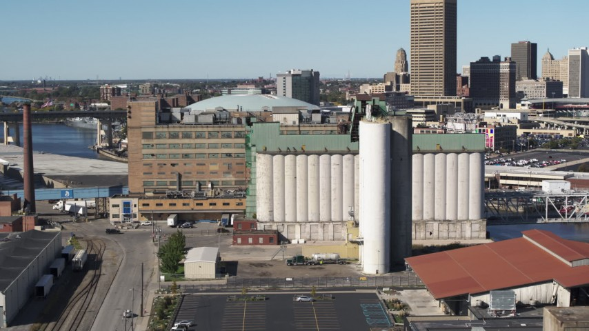 5.7K stock footage aerial video flyby grain elevator in Buffalo, New York Aerial Stock Footage | DX0002_201_017