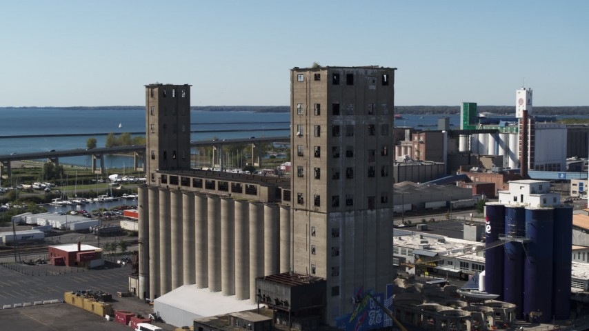 5.7K stock footage aerial video slowly orbit a grain elevator in Buffalo, New York Aerial Stock Footage   DX0002_201_019