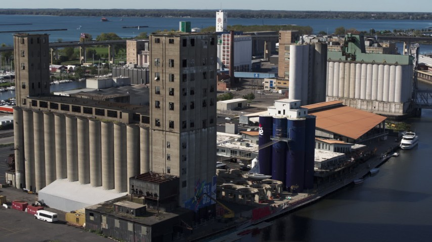 5.7K stock footage aerial video of an orbit around a large grain elevator in Buffalo, New York Aerial Stock Footage | DX0002_201_025